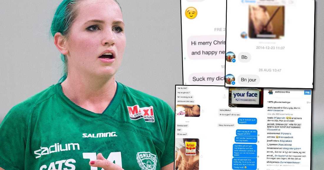 Linnéa Claeson och några av de meddelanden hon fått. Bilden är ett montage.