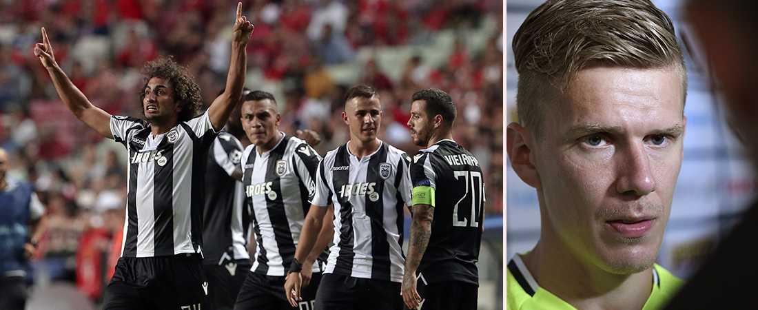 Paok:s Amr Warda kvitterade till 1–1, vilket blev slutresultatet mot Benfica. Pontus Wernbloom fick dock se krysset hemifrån tv-soffan.