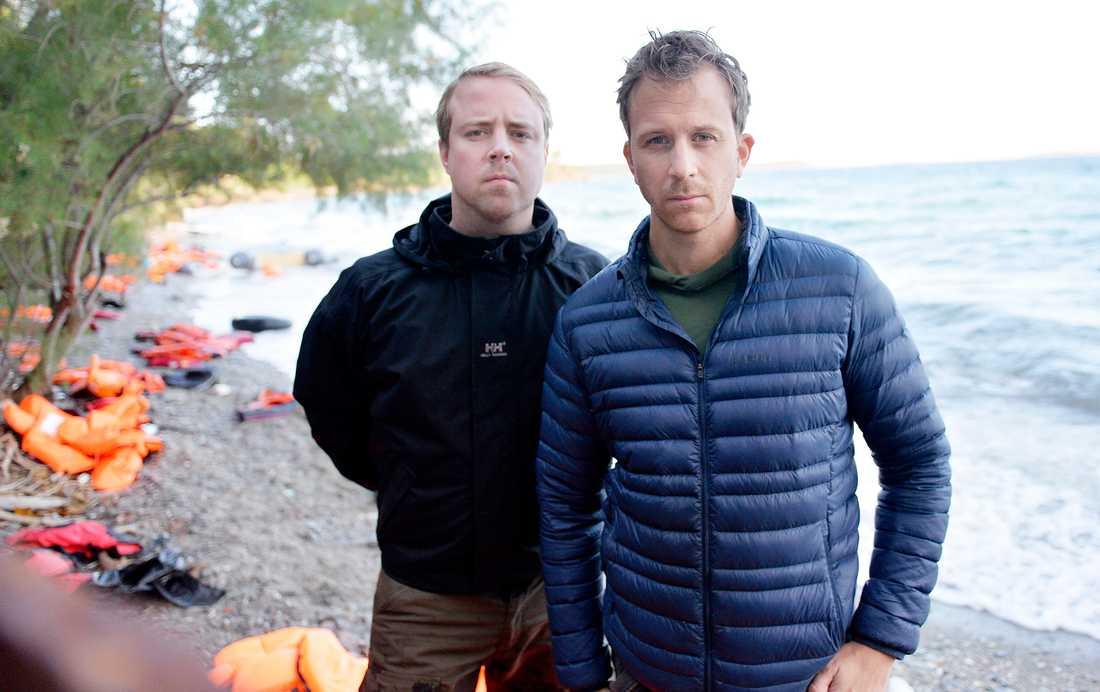 RAPPORT RÅN FLYKTINGKATASTROFEN Aftonbladets fotograf Andreas Bardell och reporter Erik Wiman på Samos.