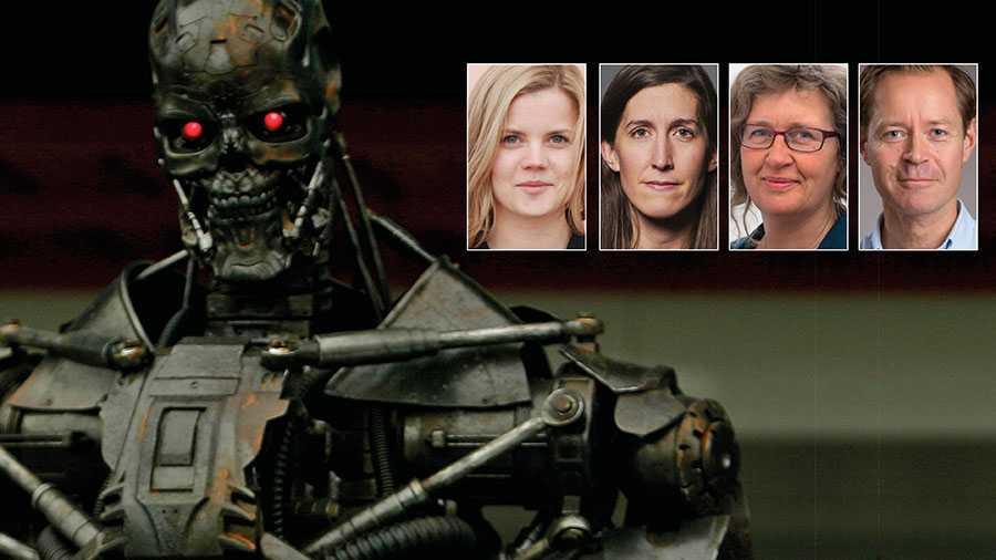 """Vad händer med grundläggande principer om mänsklig värdighet och rätten till liv om vi tillåter maskiner att fatta beslut om liv och död? Sverige måste stödja förbudet mot mördarrobotar på mötet i FN i morgon, skriver Malin Nilsson, Agnes Hellström, Anna Lindenfors och Måns Molander. På bilden en mördarrobot så som den såg ut i """"Terminator""""-filmen."""