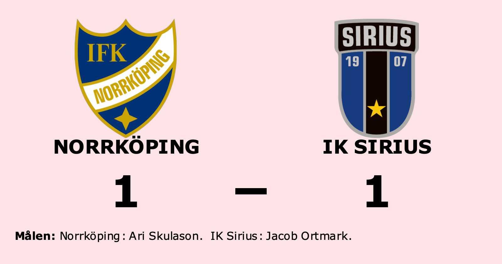 Norrköping tappade ledning till oavgjort mot IK Sirius
