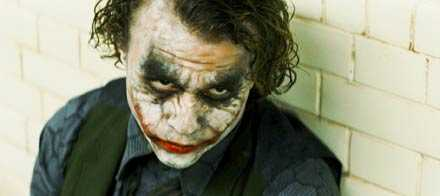 "Uppskattad filmroll Heath Ledger som Jokern i ""Dark knight""."