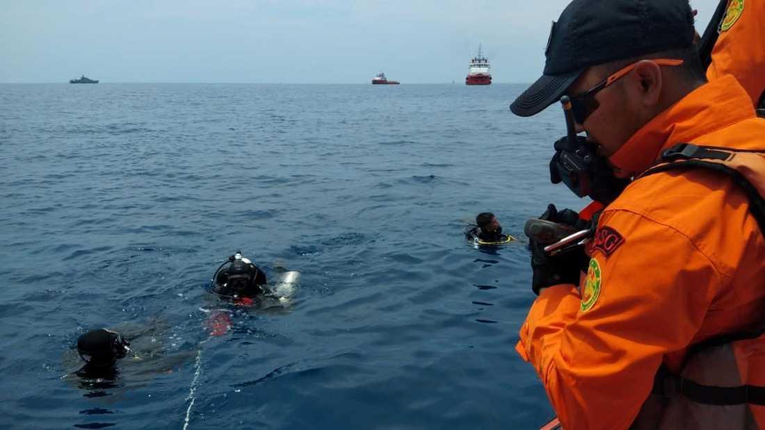 Räddningspersonal dyker i området där flygplanet störtade.