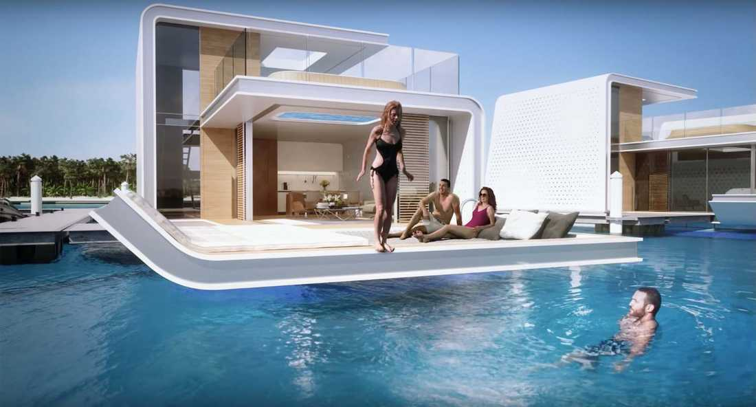 Lyxvillorna består av tre våningar, varav två är ovan havsytan där man har tillgång till två soldäck.
