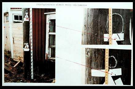 POLISENS HEMLIGA BILDER Här – i en telefonstolpe i Kemi, Finland – provsköt rånarna Mockfjärdsrevolvern innan de fortsatte till Sverige för att utföra rånet mot postkontoret. Man provsköt också vid en sommarstuga i Haparanda.