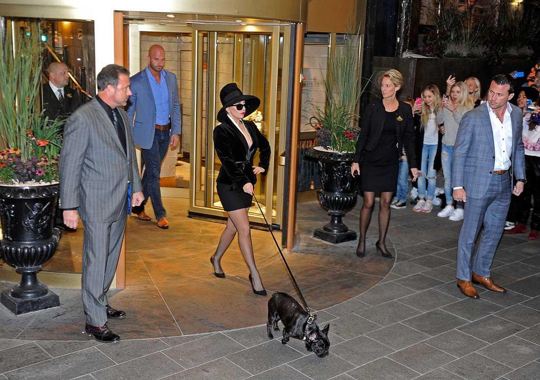 Lady Gaga visade på superstjärnemanér med sin lilla hund utanför lyxhotellet Grand Hotel i Stockholm.