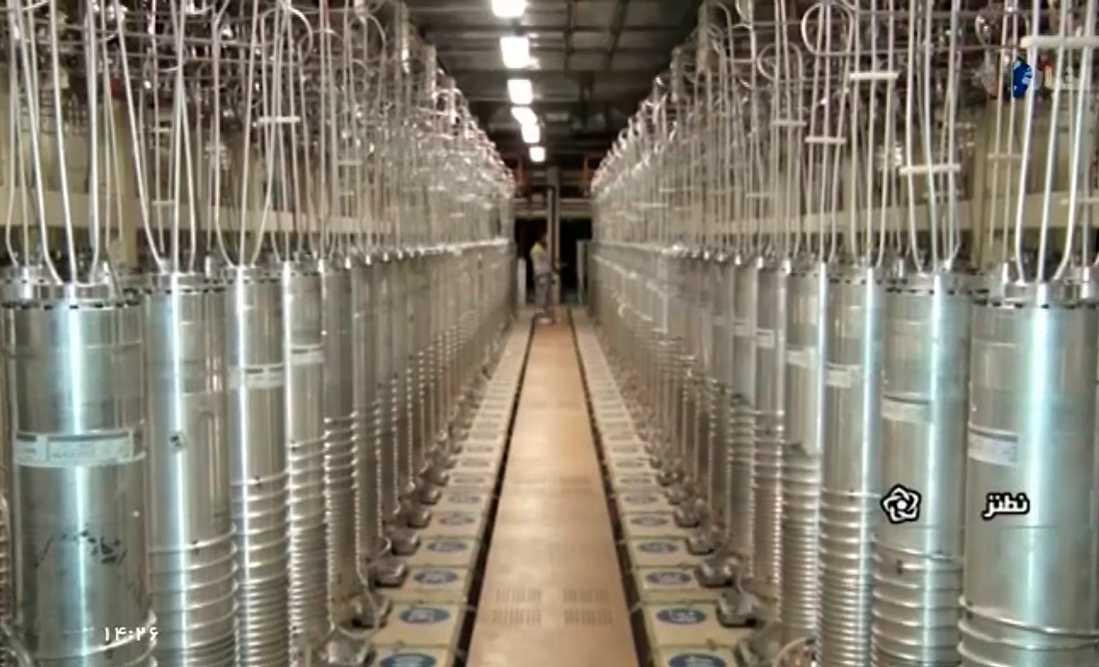 Olika centrifuger på rad vid urananrikningsanläggningen Natanz. Arkivbild.