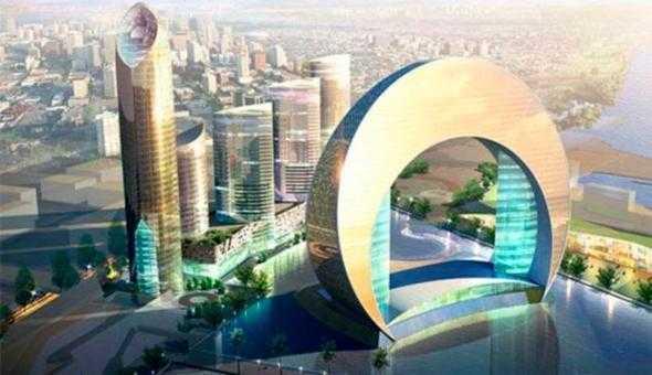 Planerade spektakulära byggnader Bakom Hotel Crescent byggs flera skyskrapor med kontor och lägenheter, den högsta 203 meter hög med 43 våningar.