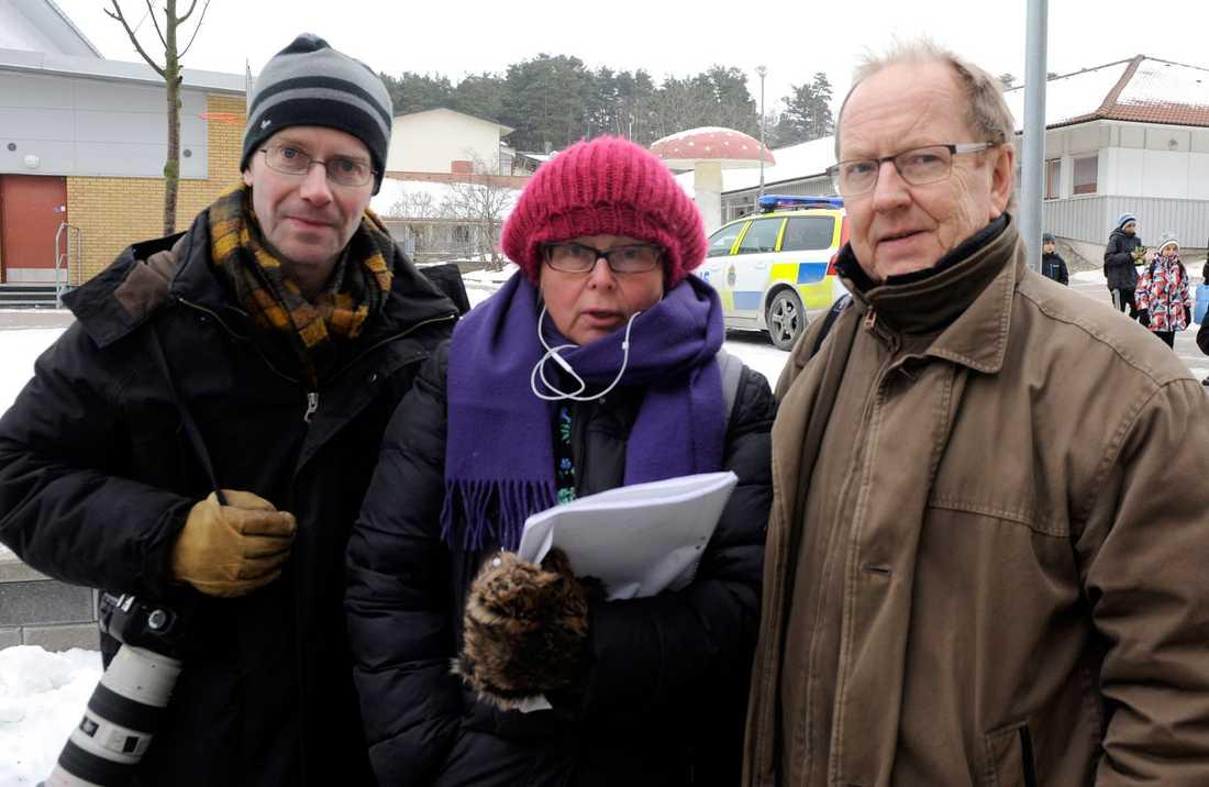 Aftonbladets team på plats. Thomas Johansson, fotograf, Kerstin Danielson, reporter och Roger Lundsten, fotograf.