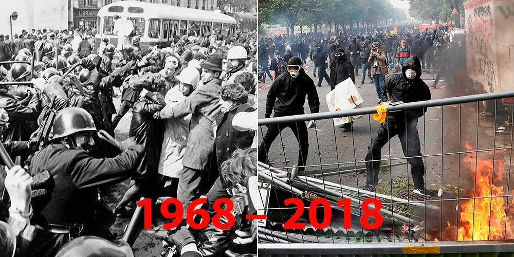 Kravaller mellan studenter och polis den 6 maj1968 –kravaller i Paris i samband med förstamaj-demonstrationerna i tisdags.