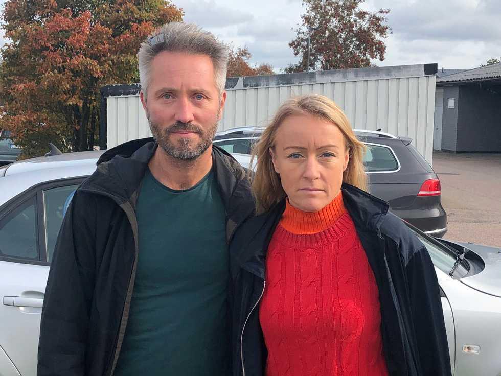 Fotograf Anders Andersson och reporter Susanna Nygren på plats i Halmstad