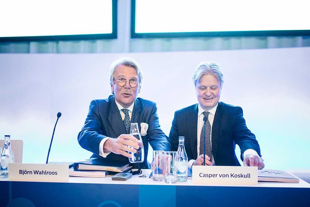 Nordeas styrelseordförande Björn Wahlroos och vd Casper von Koskull på Nordeas årsstämma i City Conference Centre tidigare i år.