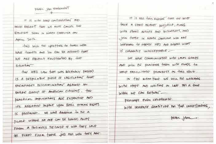 På sin hemsida har bandet skrivit en motivering till varför de ställt in konserten i North Carolina.
