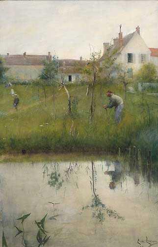 """Carl Larsson, """"Gubben och nyplanteringen"""", 1883. Akvarell."""