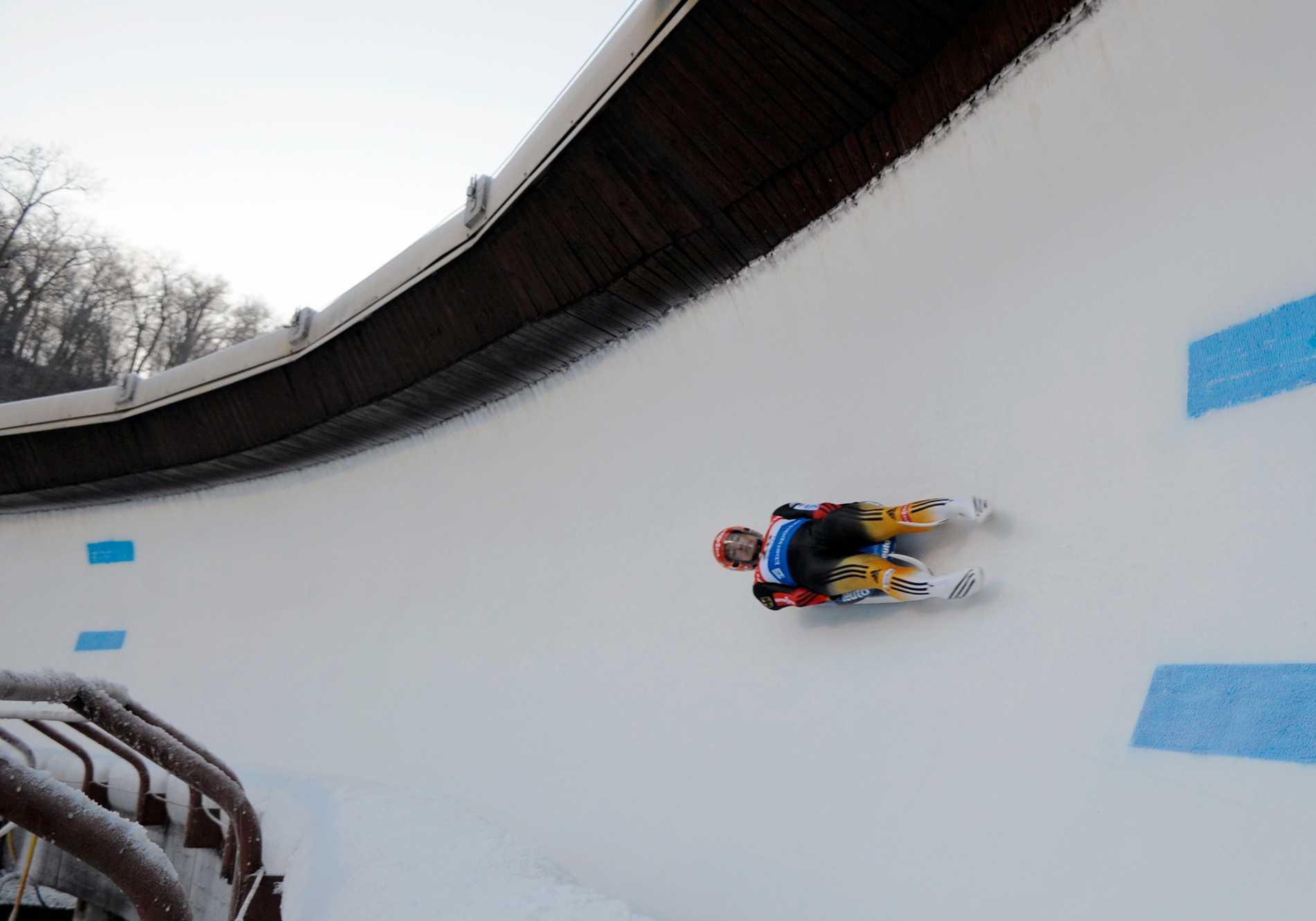 Rodelbanan i Sigulda i Lettland, som skulle kunna användas för ett OS – i Stockholm. Arkivbild.