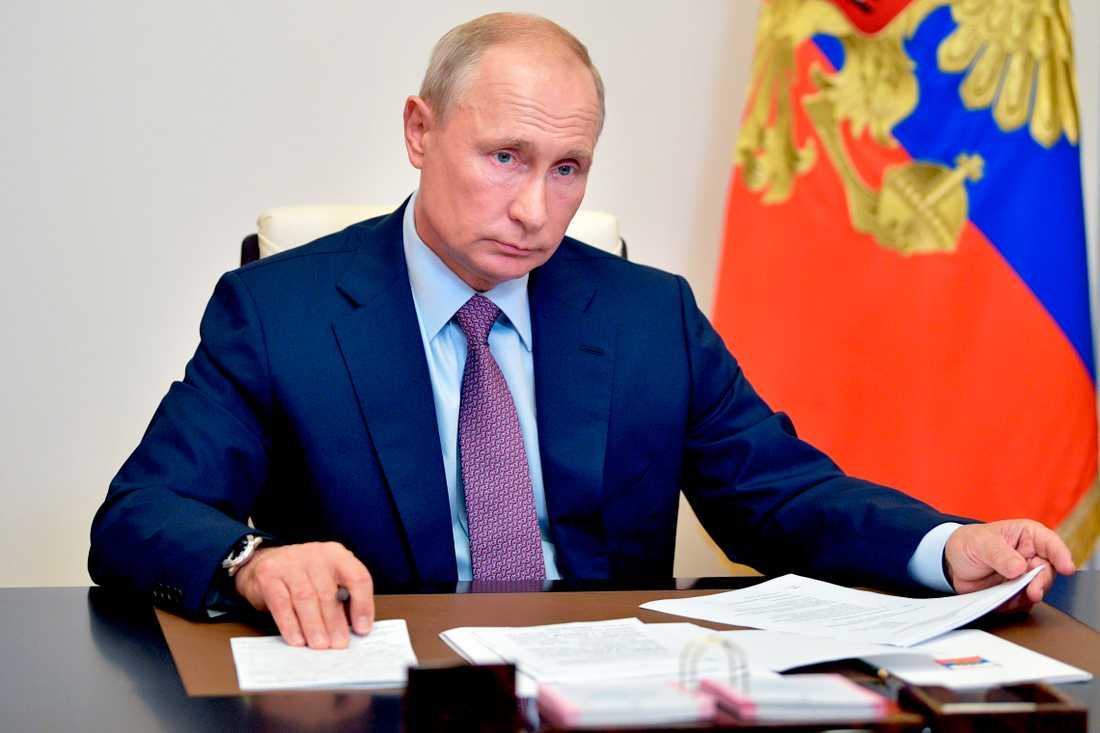 Rysslands president Vladimir Putin under fredagens videokonferens.