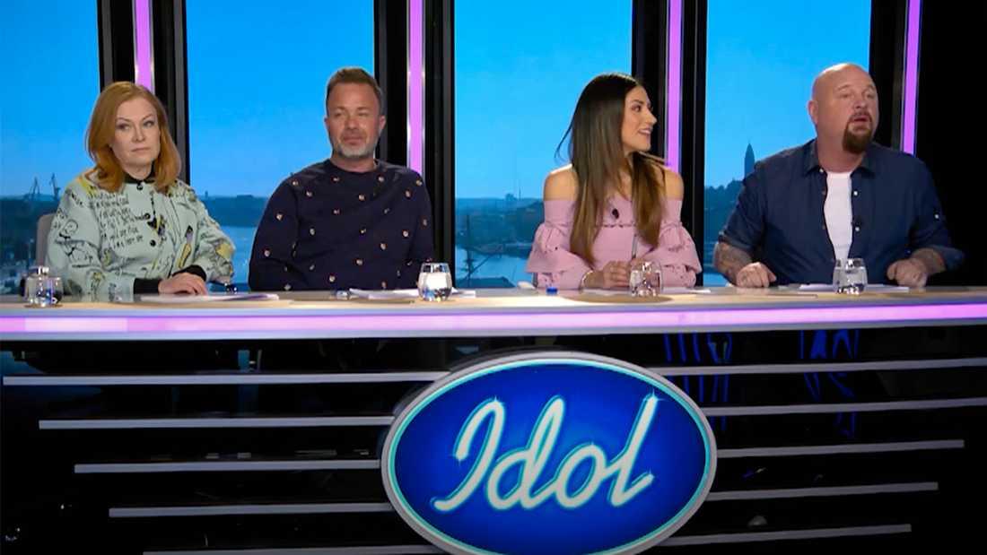 """""""Idol""""-juryn, från vänster Kishti Tomita, lexander Kronlund, Nikki Amini och Anders Bagge."""