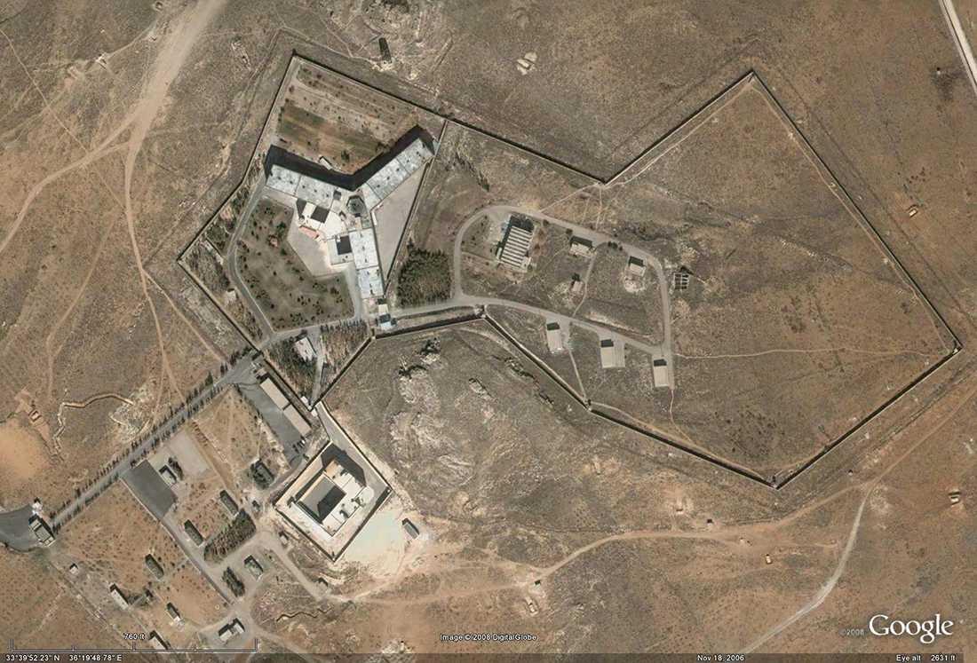 Satellitbild på fängelset Saydnaya