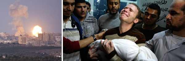 Jihad Misharawi bär sin döde son efter raketattacken mot Gaza.
