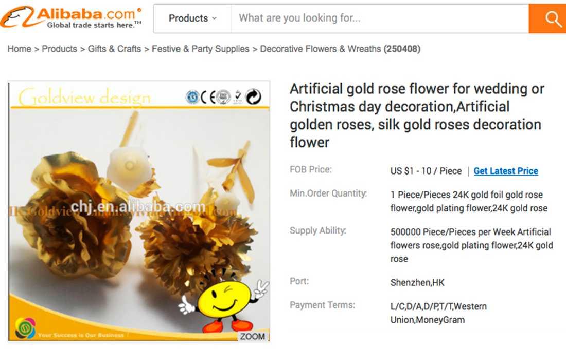 Det kinesiska e-handelsbolaget Alibaba säljer sina förgyllda rosor för 1 dollar styck.