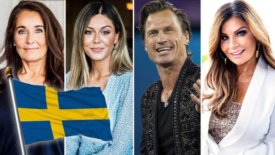Agneta Sjödin, Bianca Ingrosso, Petter Stordalen och Carola Häggkvist har alla olika sätt att hylla Sverige på idag.