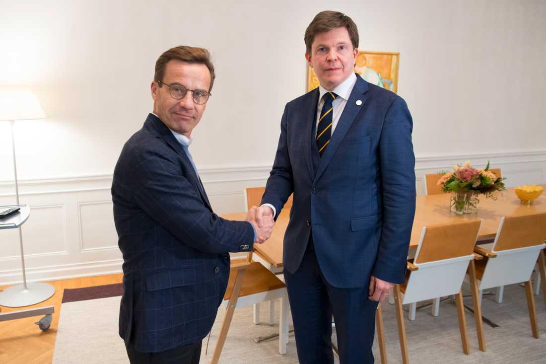 Ulf Kristersson (M) och talmannen Andrea Norlén