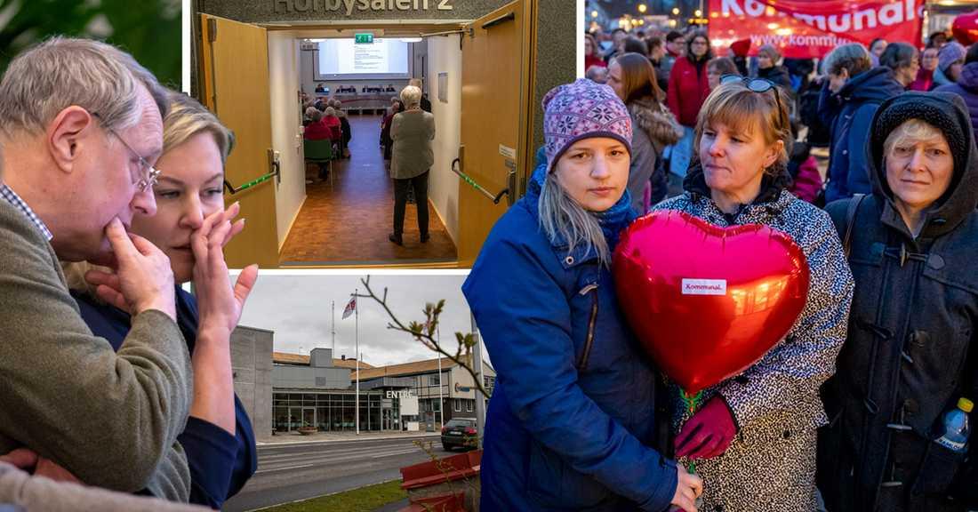 Stefan Borg och Cecilia Bladh in Zito (till vänster) är SD:s toppnamn i Hörby. Linda Håkansson, Sofie Jönsson och Carina Nilsson protesterar mot de ekonomiska besparingar som ska genomföras i kommunen.