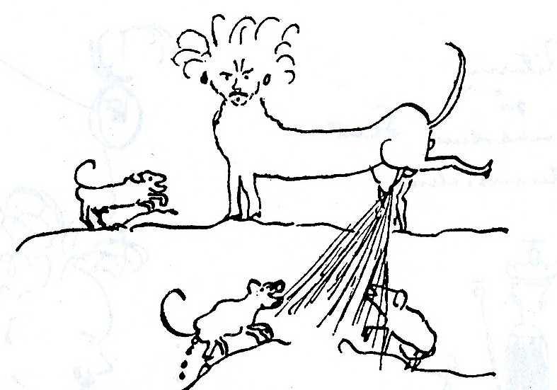 Strindberg ritar sig själv som en hund som kissar på sina fiender.