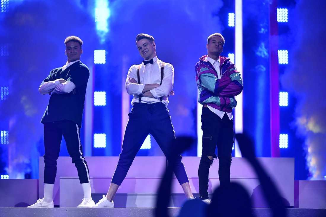 Tjeckiens Mikolas Josef under ett av Eurovisions genrep