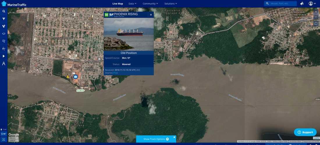 """Flisanläggningen ligger i staden Santana vid Amazonflodens mynning. Den 13 november avgick bulkfartyget """"Phoenix Rising"""", fullastat med flis, med destination Stockholm."""