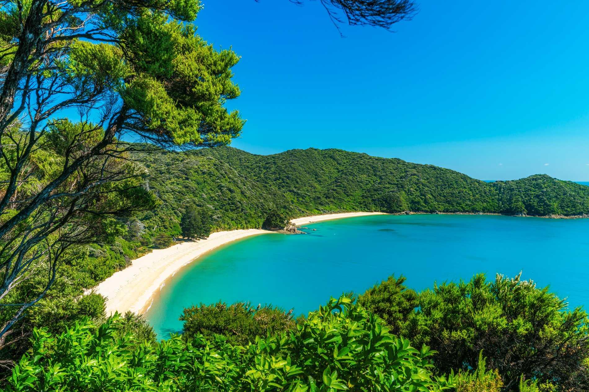 I Abel Tasman national park finns det vackra stränder och klart vatten.