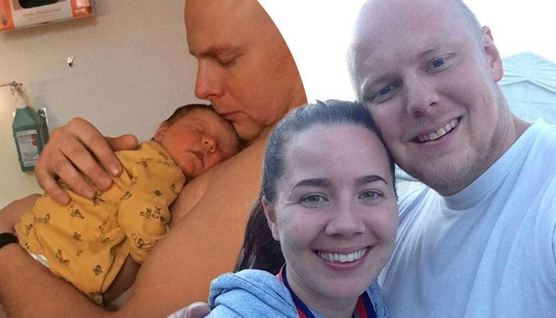 Sebastian, Petra och deras nyfödda dotter.