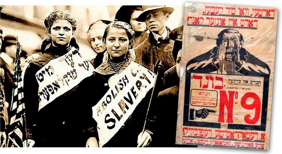 Tecken ur tiden Judisk demonstration med banners på engelska och jiddisch i New York 1909. Före kriget talade 11 miljoner jiddisch, i dag är det ett utdöende språk. Till höger en propaganda-affisch från det judiska kommunistförbundet Bund .