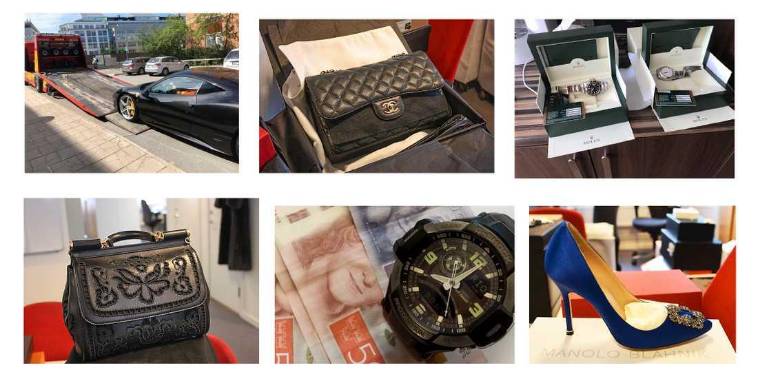 Kontanter, bilar, klockor och fastigheter hör till det som utmäts. Men det kan också handla om märkeskläder och guldkedjor – trots att kriminella ofta har stora skulder går de omkring i dyra kläder och åker runt i lyxiga bilar.