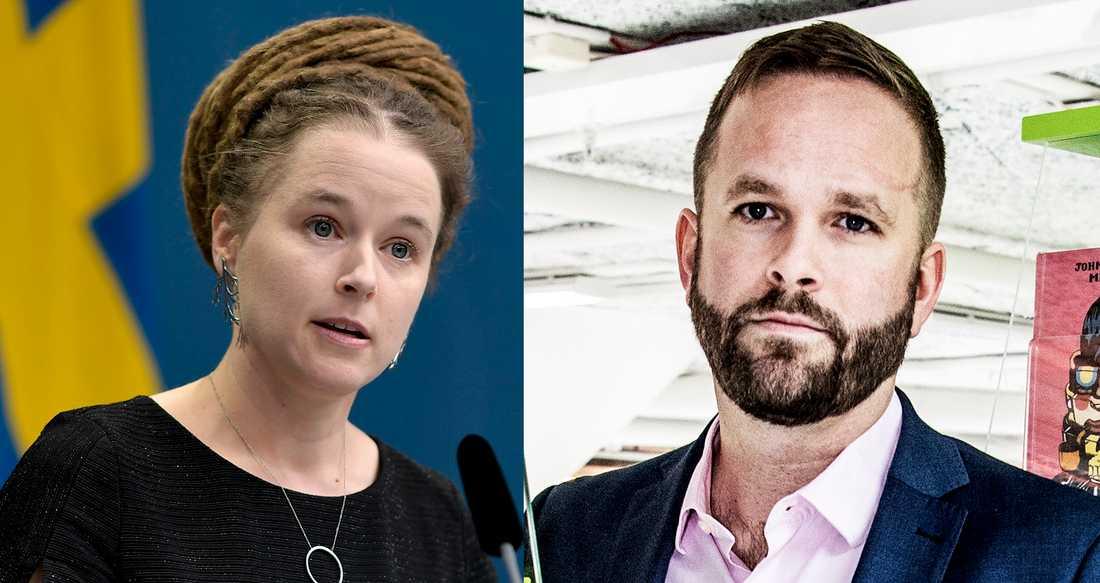 Kulturminister Amanda Lind (MP) och kultur- och stadsmiljöborgarråd i Stockholm Jonas Naddebo (C).