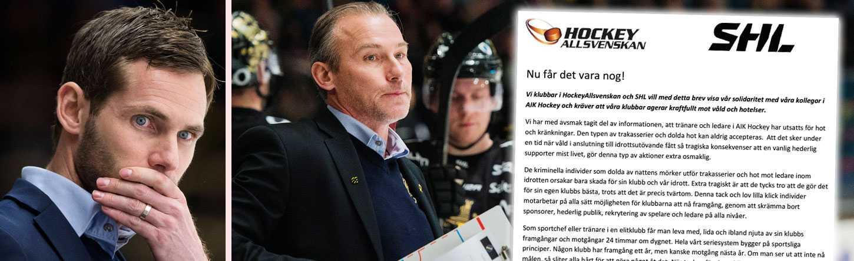 Daniel Rudslätt och Rikard Franzén har fått utstå hot efter att AIK åkt ur SHL.