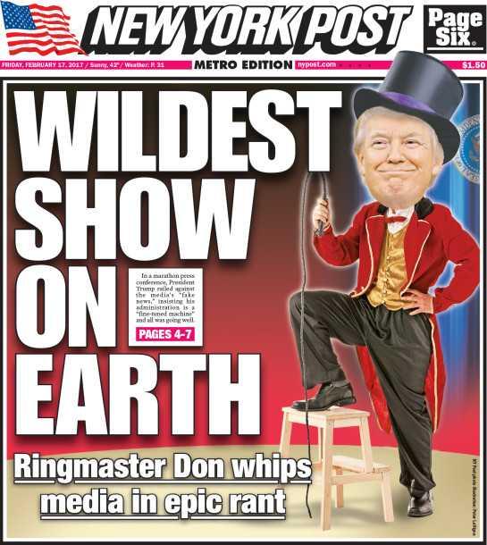 """Trump-vänliga New York Post kallar presskonferensen """"den galnaste showen på jorden""""."""