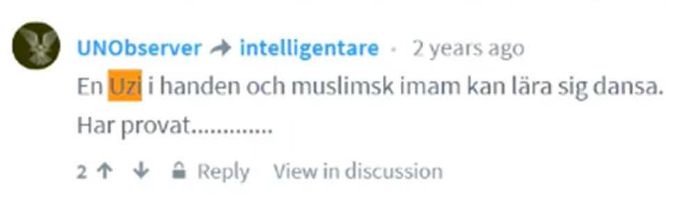 En av de kommentarer Lennart Karlsson skrivit på nätet.