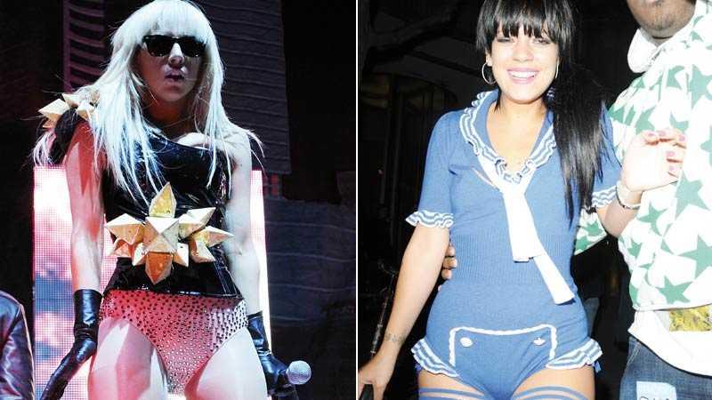 Spännande outfits Lady Gaga och Lily Allen ger troskanterna varsitt ansikte.
