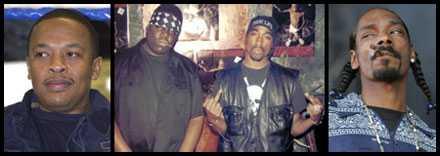 Dr Dre, Notorious B.I.G, Tupac och Snoop Dogg.