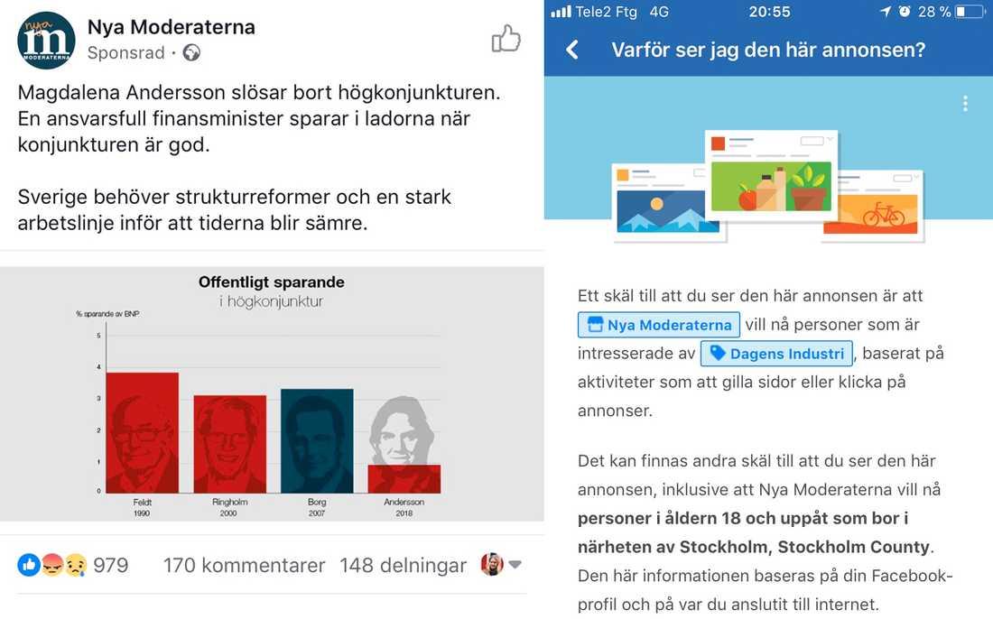 """En så kallad """"dark ad"""" från Moderaterna, riktad mot Facebook-användare som """"gillar"""" Dagens Industri."""