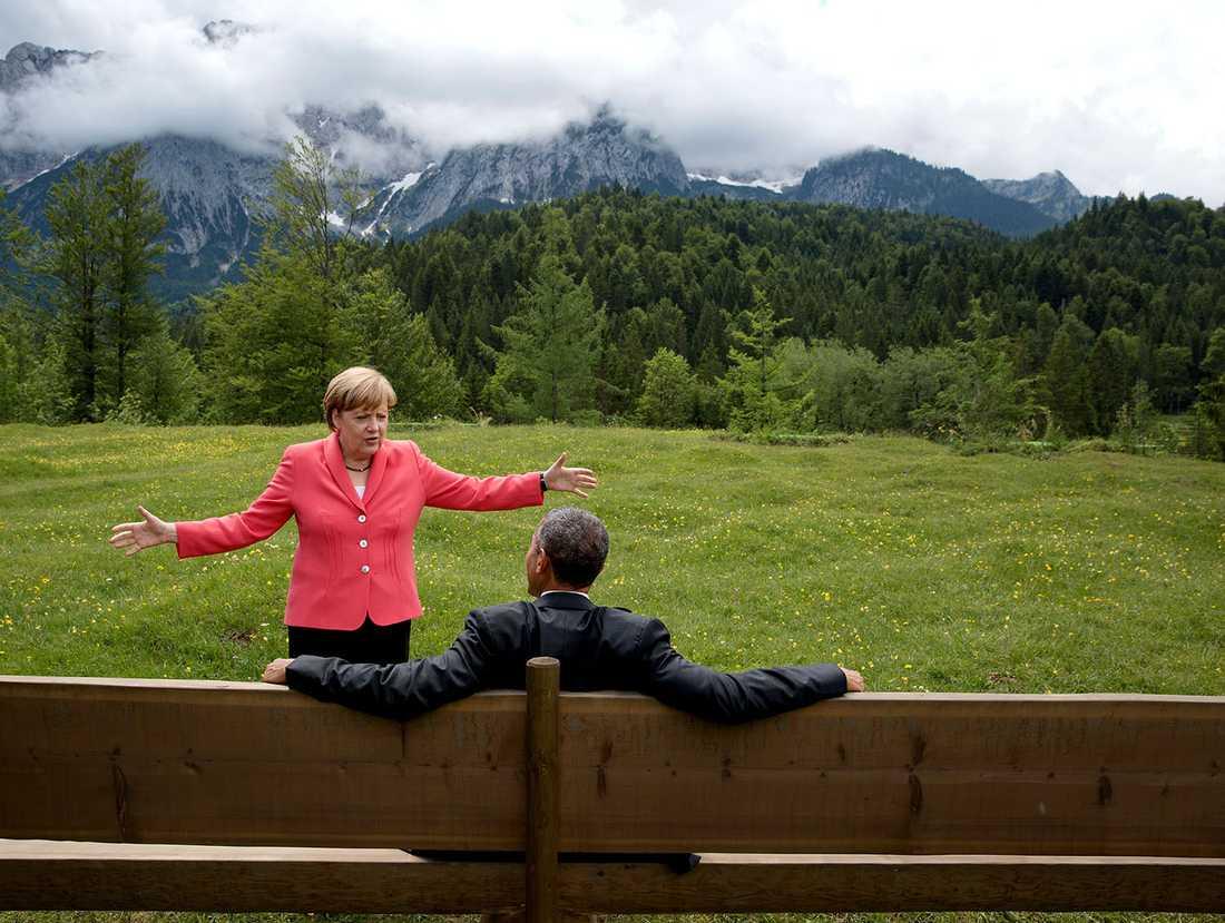 Med Angela Merkel på ett G7-möte i Tyskland 2015