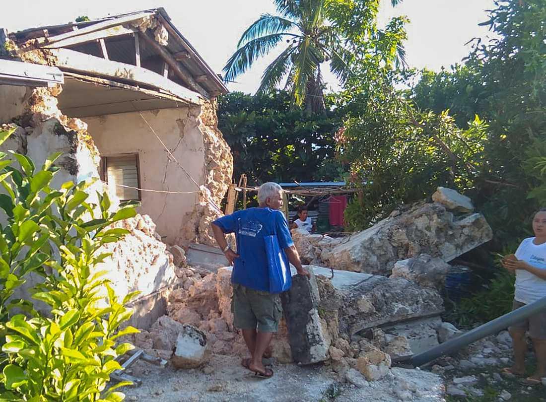 Skadade hus i staden Itbayat i provinsen Batanes.