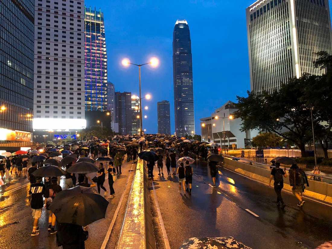 Demonstranter i Hongkong.