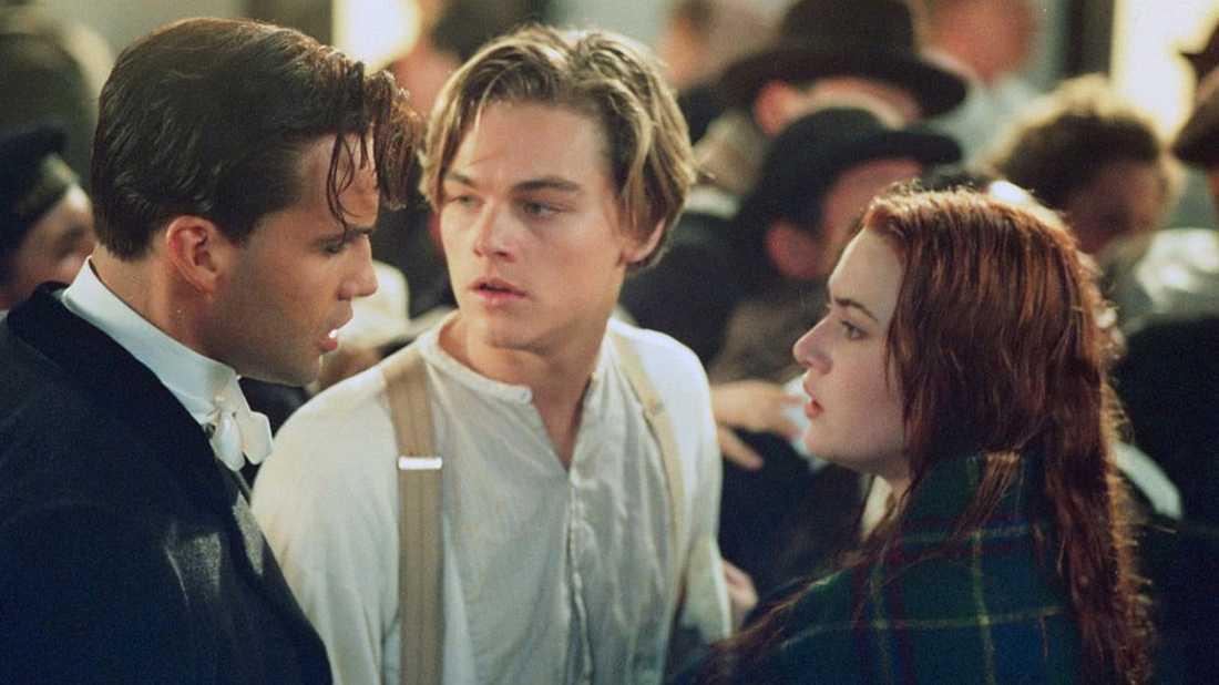 """Billy Zane, Kate Winslet och Leonardo DiCaprio i filmen """"Titanic"""" från 1997."""