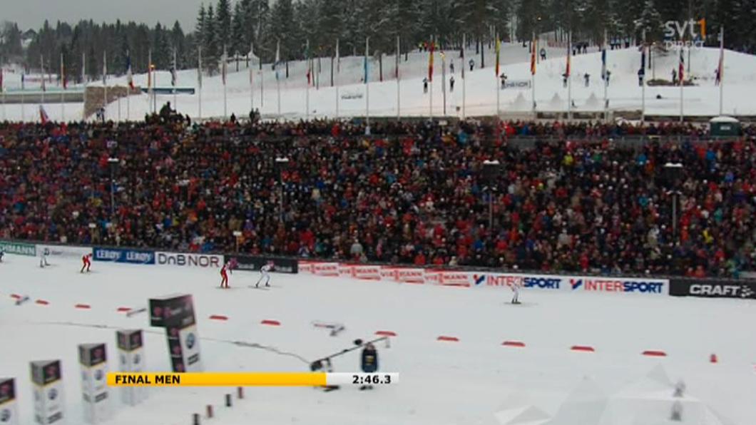 Marcus Hellner har säkrat guldet, men Petter Northug lägger in spurten...