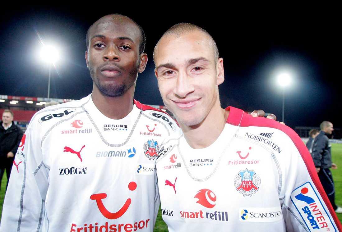 Luton Shelton och Henrik Larsson, båda tvåmålsskyttar i bortamatchen mot Kalmar FF, 2006.