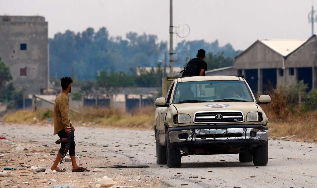 Milismän från Tripolibaserade GNA i samband med strider söder om huvudstaden i maj.