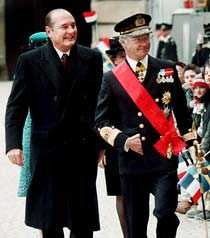 kungligt Jacques Chirac på besök hos Sveriges kung Carl XVI Gustaf.