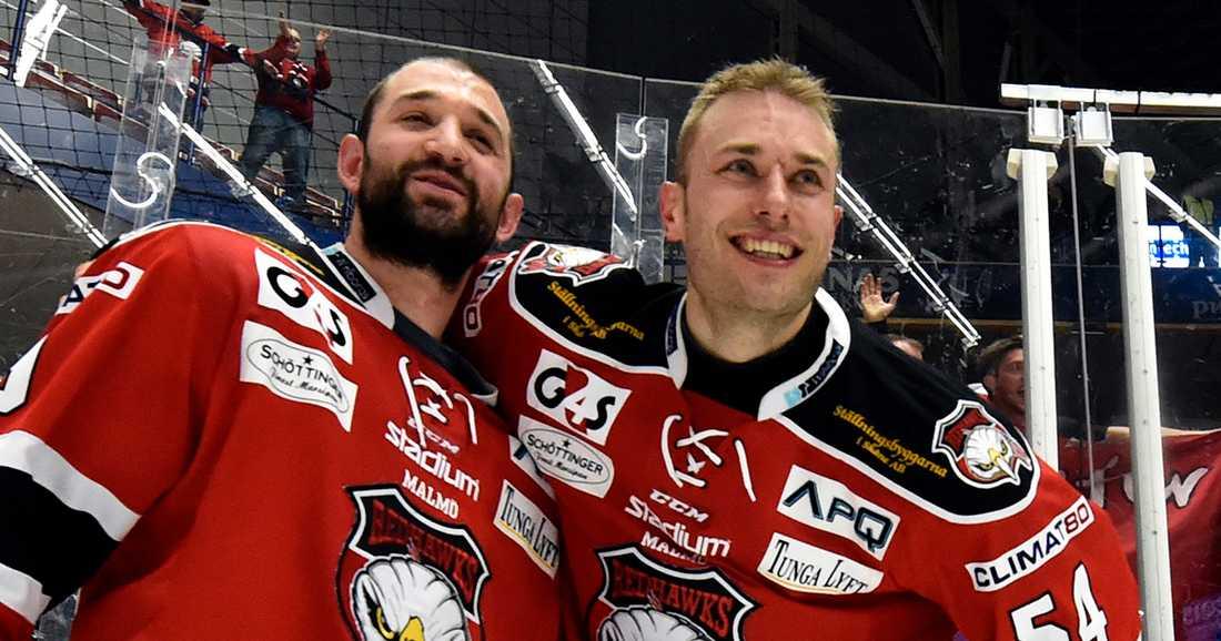 Brunnström, till höger, var med och tog upp Malmö till SHL 2015.